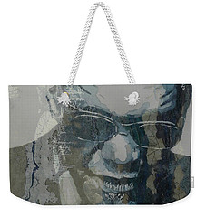 Weekender Tote Bag featuring the mixed media Retro / Ray Charles  by Paul Lovering