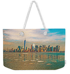 Weekender Tote Bag featuring the digital art Retro Style Skyline Of New York City, United States by Anthony Murphy
