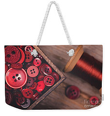 Retro Styled Red Buttons And Thread Weekender Tote Bag