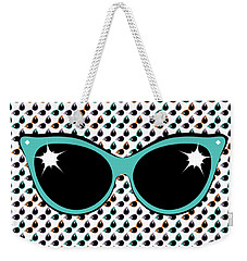 Retro Turquoise Cat Sunglasses Weekender Tote Bag