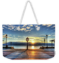 Revere Beach Clock At Sunrise Angled Long Shadow Revere Ma Weekender Tote Bag
