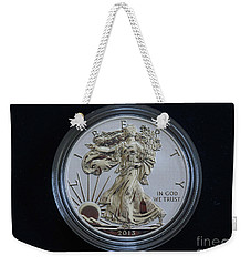 Weekender Tote Bag featuring the digital art Reverse Proof Silver Eagle Dollar Coin by Randy Steele