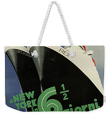Rex, Conte Di Savoia - Italian Ocean Liners To New York - Vintage Travel Advertising Posters Weekender Tote Bag