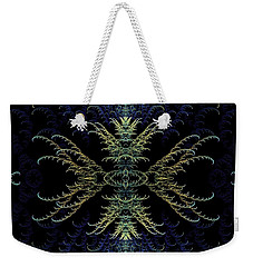 Weekender Tote Bag featuring the digital art Rhapsody In Blue And Gold by Lea Wiggins