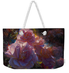 Weekender Tote Bag featuring the painting Rhapsody Roses - Flowers In The Garden Painting by Karen Whitworth