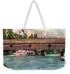 Weekender Tote Bag featuring the photograph Rhine Shipping by Hanny Heim
