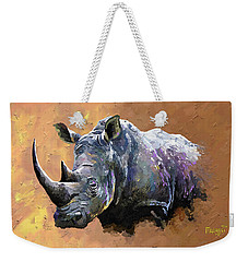 Rhino Weekender Tote Bag by Anthony Mwangi