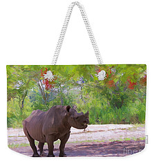 Weekender Tote Bag featuring the painting Rhino Impressions by Judy Kay