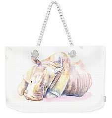 Rhino Two Weekender Tote Bag by Elizabeth Lock