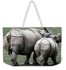 Rhinoceros Mother And Calf In Wild Weekender Tote Bag by Daniel Hagerman