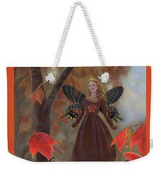 Weekender Tote Bag featuring the painting Rhiona In The Maple Tree by Nancy Lee Moran