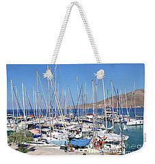 Rhodes Cup Yachts On Tilos Weekender Tote Bag