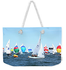 Weekender Tote Bag featuring the photograph Rhodes Nationals Sailing Race Dennis Cape Cod by Charles Harden