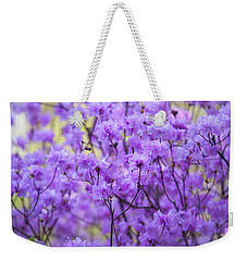 Weekender Tote Bag featuring the photograph Rhododendron In Bloom. Spring Watercolors by Jenny Rainbow