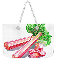 Weekender Tote Bag featuring the painting Rhubarb Stalks by Irina Sztukowski