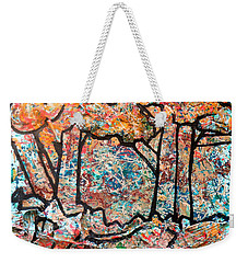 Weekender Tote Bag featuring the mixed media Rhythm Of The Forest by Genevieve Esson