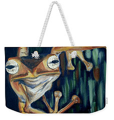 Weekender Tote Bag featuring the painting Ribbit by Donna Tuten