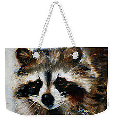 Weekender Tote Bag featuring the painting Rickey Raccoon by Barbie Batson