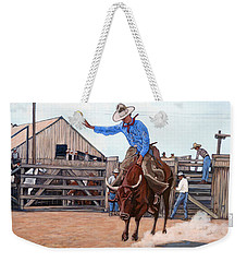 Weekender Tote Bag featuring the painting Ride 'em Cowboy by Tom Roderick