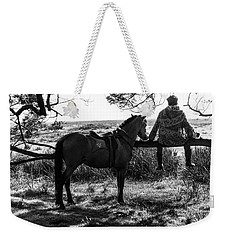 Weekender Tote Bag featuring the photograph Rider And Horse Taking Break by Pradeep Raja Prints