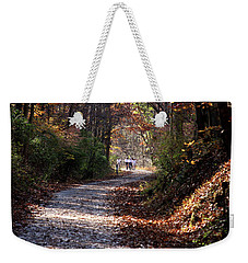 Riding Bikes On Park Trail In Autumn Weekender Tote Bag