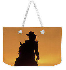 Riding Cowgirl Sunset Weekender Tote Bag