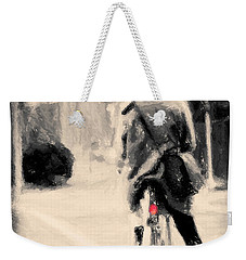 Weekender Tote Bag featuring the painting Riding My Bicycle In A Red Hat by Chris Armytage