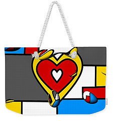 Weekender Tote Bag featuring the digital art Right In The Heart By Nico Bielow by Nico Bielow