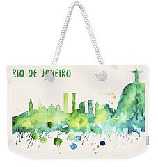 Rio De Janeiro Skyline Watercolor Poster - Cityscape Painting Artwork Weekender Tote Bag