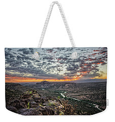 Rio Grande River Sunrise 2 - White Rock New Mexico Weekender Tote Bag by Brian Harig