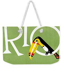Rio Vintage Travel Poster Restored Weekender Tote Bag by Carsten Reisinger