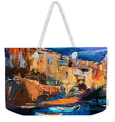 Weekender Tote Bag featuring the painting Riomaggiore - Cinque Terre by Elise Palmigiani