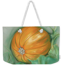 Weekender Tote Bag featuring the pastel Ripening Pumpkin On The Vine by MM Anderson
