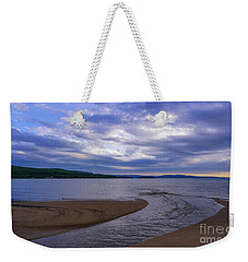 Weekender Tote Bag featuring the photograph Rippled Inlet Near Sunset by Rachel Cohen