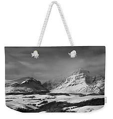 Rising Wolf Mountain- Winter - Black And White Weekender Tote Bag