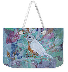 Weekender Tote Bag featuring the painting Risky Robin by Robin Maria Pedrero