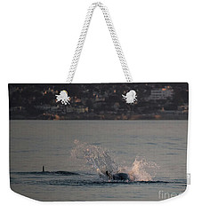 Weekender Tote Bag featuring the photograph Risso's Dolphins At Play by Suzanne Luft