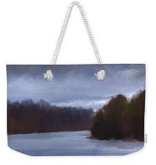 River Bend In Winter Weekender Tote Bag