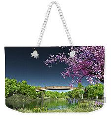 Weekender Tote Bag featuring the digital art River Bridge Cherry Tree Blosson by Walter Colvin