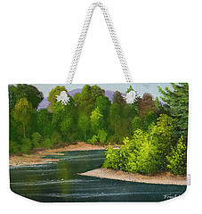 Weekender Tote Bag featuring the painting River Confluence by Frank Wilson