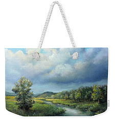 Weekender Tote Bag featuring the painting River Landscape Spring After The Rain by Katalin Luczay