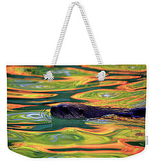 River Otter In Autumn Reflections Weekender Tote Bag