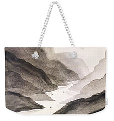 Weekender Tote Bag featuring the painting River Running Through Mountains by Edwin Alverio