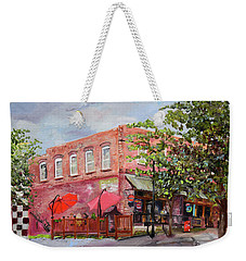 Weekender Tote Bag featuring the painting River Street Tavern-ellijay, Ga - Cheers by Jan Dappen
