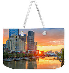 Weekender Tote Bag featuring the photograph River Sunset by Ray Warren