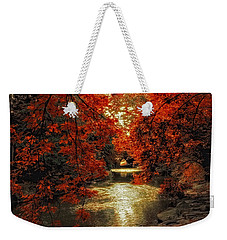 Riverbank Red Weekender Tote Bag