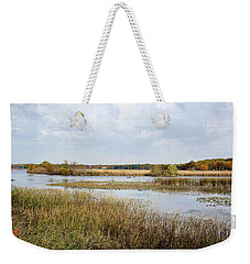 Weekender Tote Bag featuring the photograph Rivermarsh by Kathi Mirto
