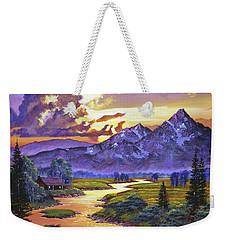 Riverside Cabin Weekender Tote Bag