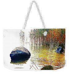 Weekender Tote Bag featuring the photograph Riverside Melody by Roger Bester