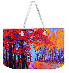 Weekender Tote Bag featuring the painting Road Within - Enchanted Forest Series - Modern Impressionist Landscape Painting - Palette Knife by Patricia Awapara